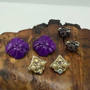 Bundle lot 3 pairs vintage gold purple